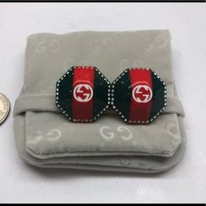 Used Auth GUcci Crystals Red Green Stud Earring